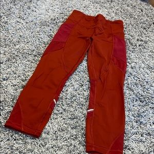 Lululemon Red Detailed Mesh Leggings